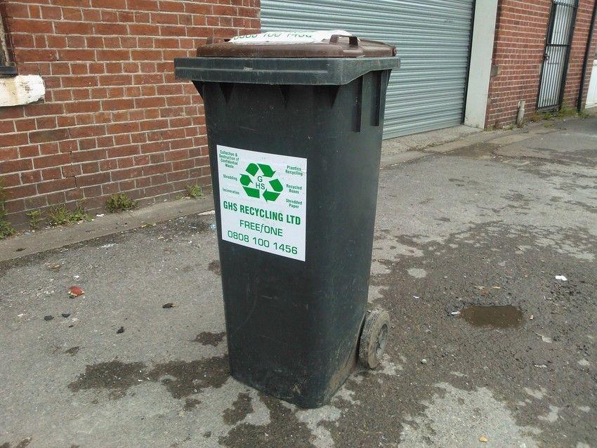 recycling bin black from side