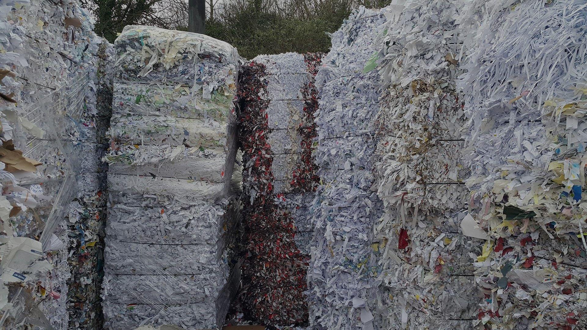 shredded paper piles